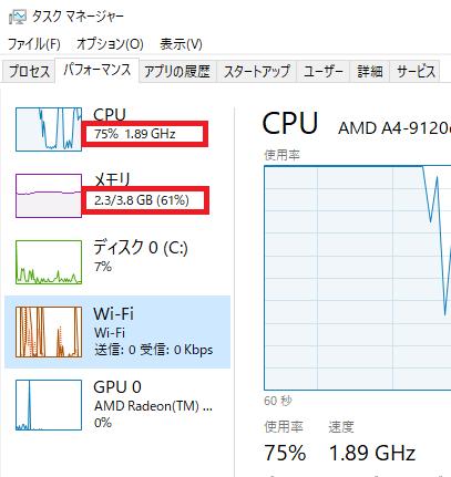 Windows10のタスクマネージャー(設定変更前)
