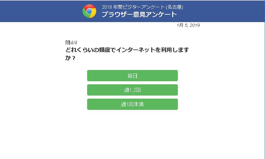 2019年間ビジターアンケート(名古屋)ブラウザー意見アンケート「どれくらいの頻度でインターネットを利用しますか?」